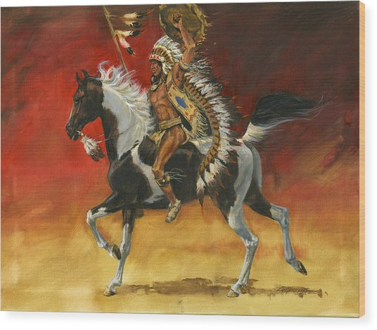 Indian Warrior Bareback Spotted Horse Wood Print