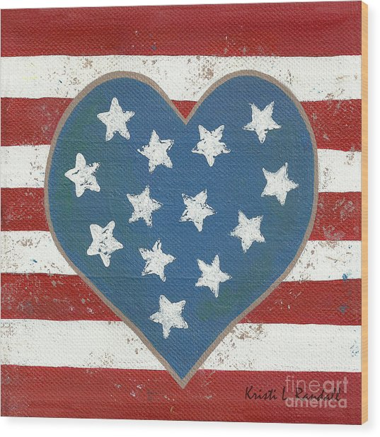 American Love Wood Print by Kristi L Randall