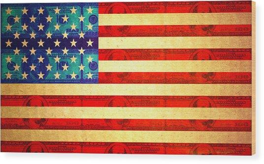 American Money Flag Wood Print