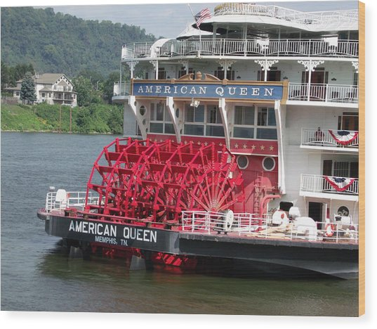 American Queen Paddlewheel Wood Print by Willy  Nelson