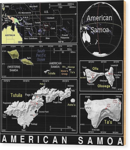 American Samoa Exotic Map Wood Print