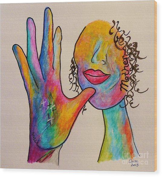 American Sign Language . . .  Mother Wood Print