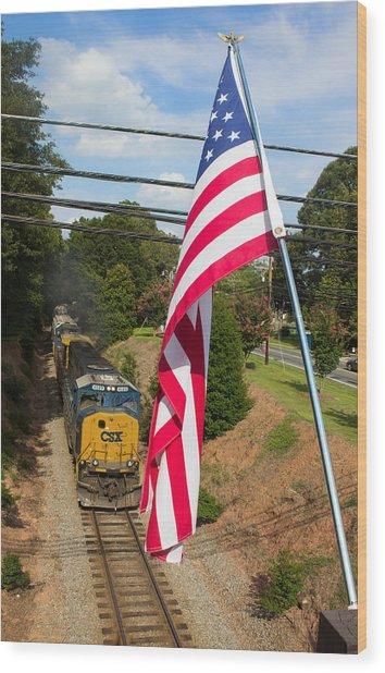 American Train 2 Wood Print