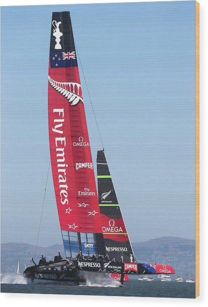 America's Cup Emirates Team New Zealand Wood Print by Steven Lapkin
