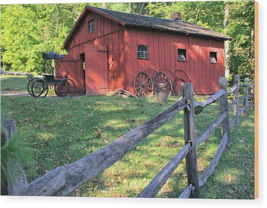 Amish Barn Along A Fenceline Wood Print