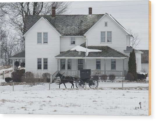 Amish Buggy And Amish House Wood Print
