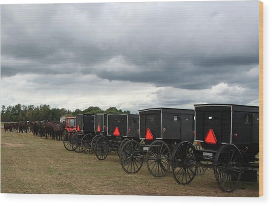 Amish Car Park Wood Print