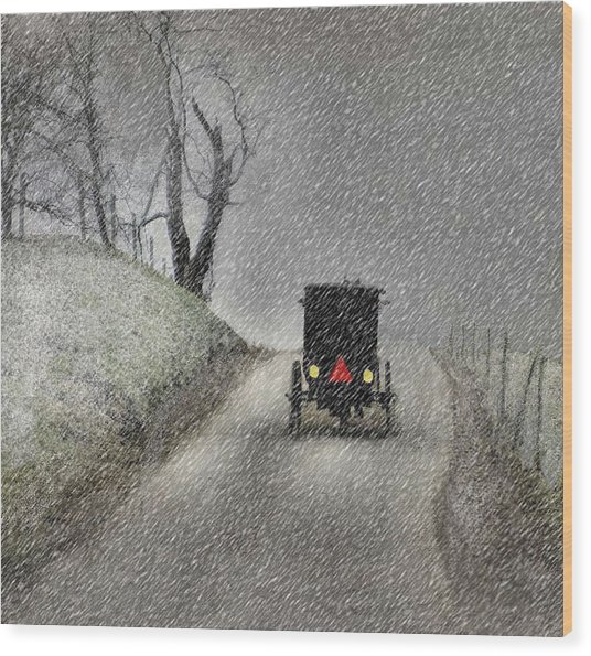 Amish Christmas Wood Print