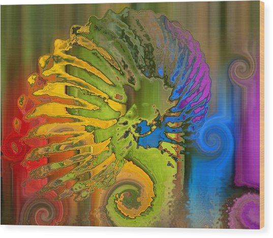 Ammonite 2 Wood Print by Soumya Bouchachi