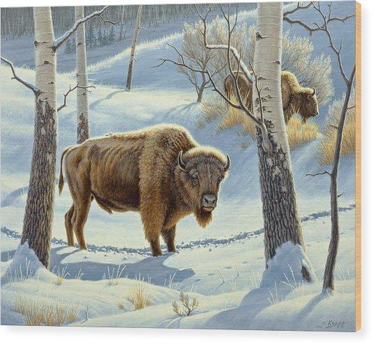 Among The Aspens- Buffalo Wood Print