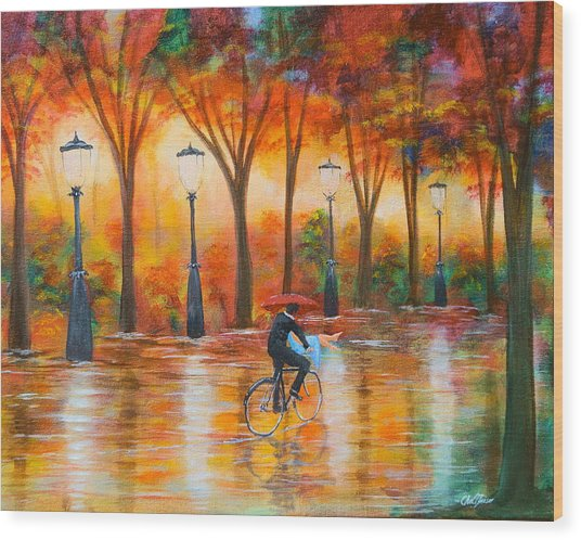 Amorous Rain Wood Print