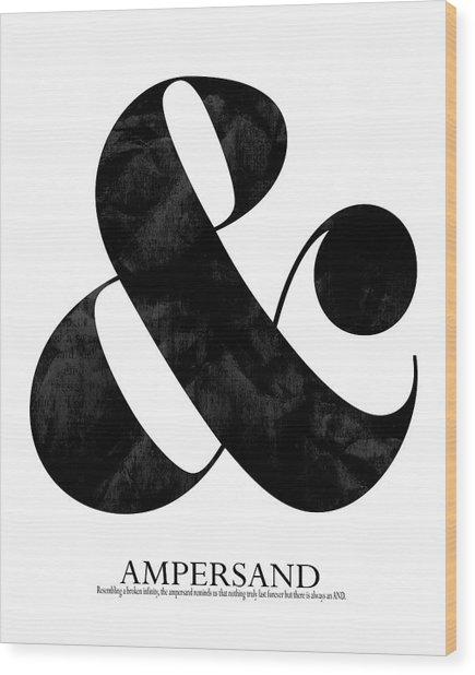 Ampersand White Wood Print