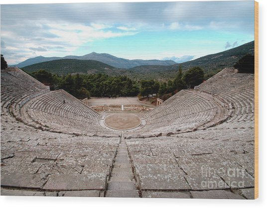 Amphitheatre At Epidaurus 2 Wood Print