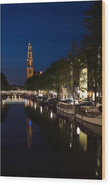 Amsterdam Blue Hour Wood Print