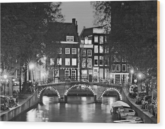 Wood Print featuring the photograph Amsterdam Bridge At Night / Amsterdam by Barry O Carroll