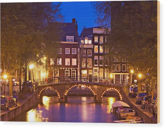 Wood Print featuring the photograph Amsterdam Bridge At Night by Barry O Carroll