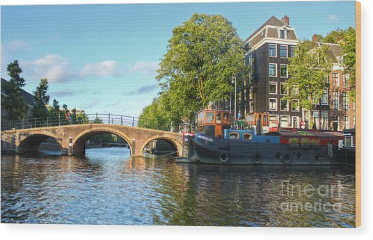 Amsterdam Canal Bridge Wood Print by Gregory Dyer