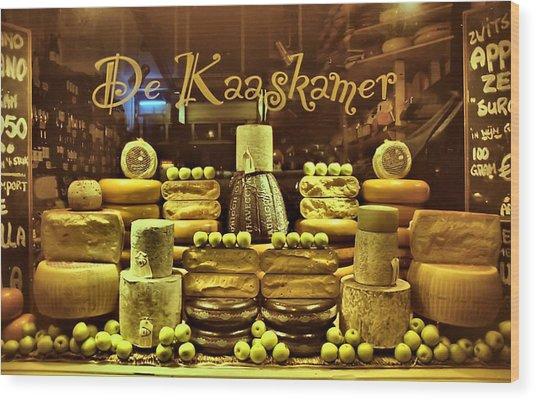 Amsterdam Cheese Shop Wood Print