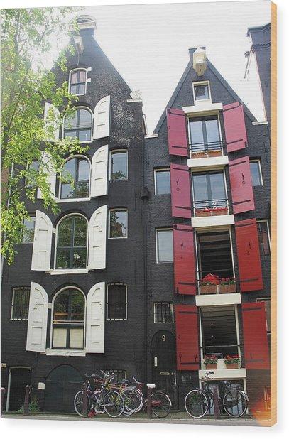 Amsterdam Homes Wood Print