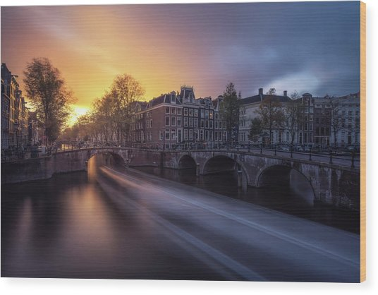 Amsterdam - Keizersgracht Wood Print by Jean Claude Castor