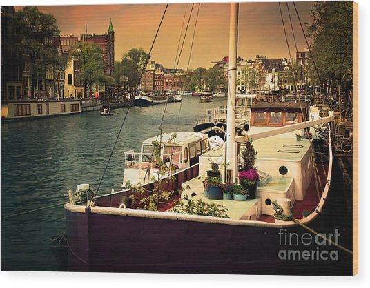 Amsterdam Romantic Canal Wood Print