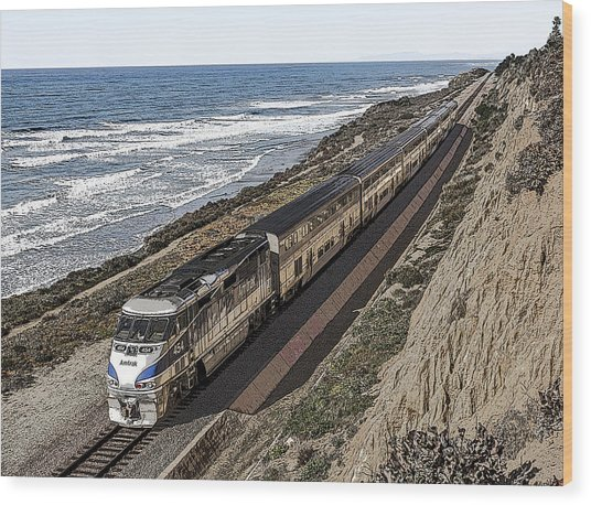 Amtrak By The Ocean Wood Print
