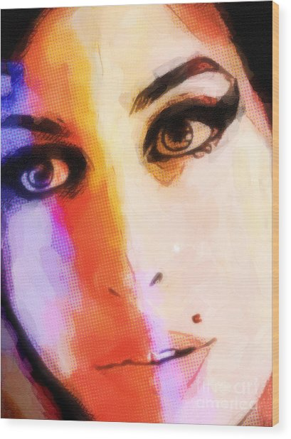 Amy Pop-art Wood Print