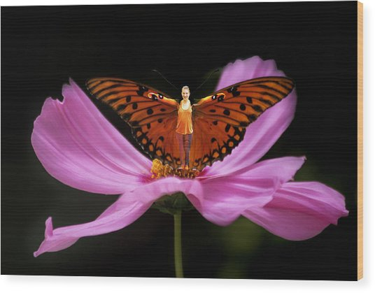 Amy The Butterfly Wood Print