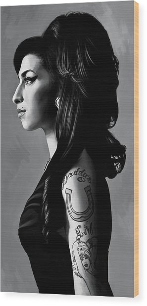 Amy Winehouse Artwork  2 Wood Print by Sheraz A