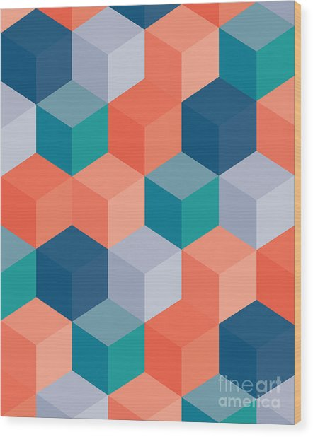 An Abstract Geometric Vector Background Wood Print