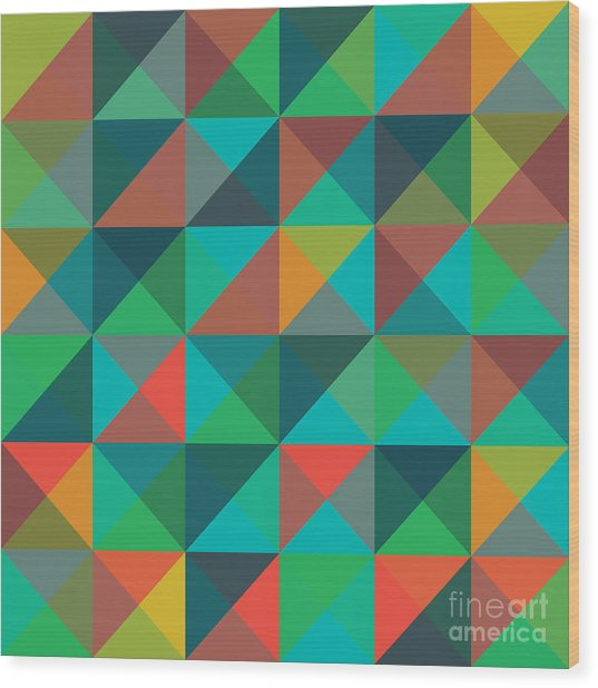 An Abstract Geometric Vector Pattern Wood Print by Mike Taylor