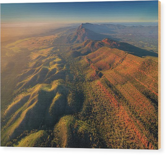 An Aerial View Of The Southern Flinders Wood Print by Southern Lightscapes-australia