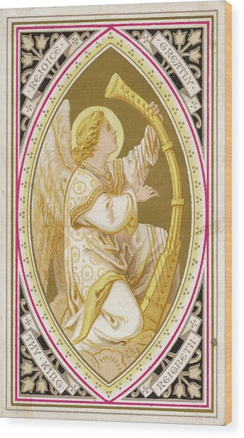 An Angel Plays A Harp          Date Wood Print by Mary Evans Picture Library