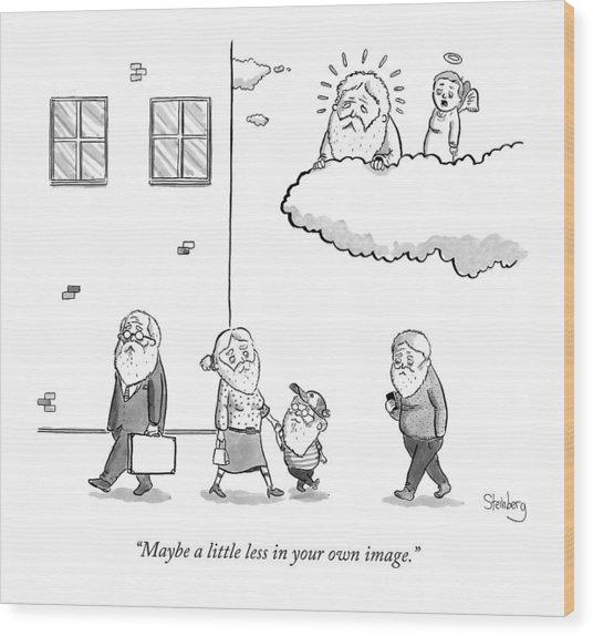 An Angel Says To God Wood Print