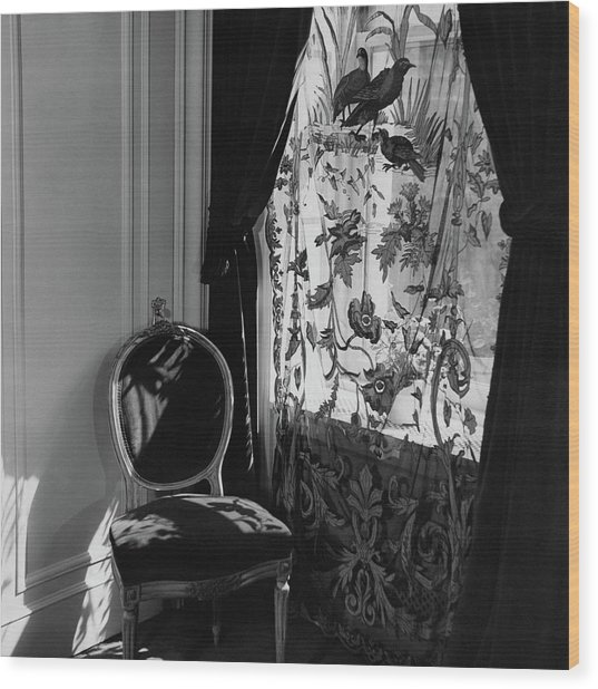 An Antique Chair By A Window Wood Print by Cecil Beaton