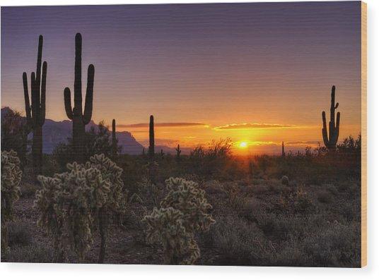 An Arizona Winter Sunrise Wood Print
