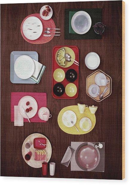 An Assortment Of Dinnerware Wood Print