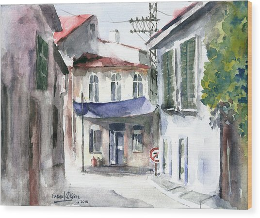 An Authentic Street In Urla - Izmir Wood Print