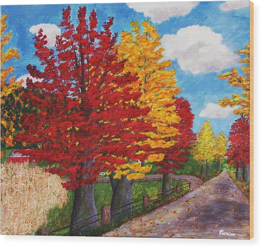 An Autumn Drive Wood Print
