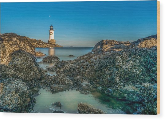 An Early Moon Over Fort Pickering Light Salem Ma Wood Print