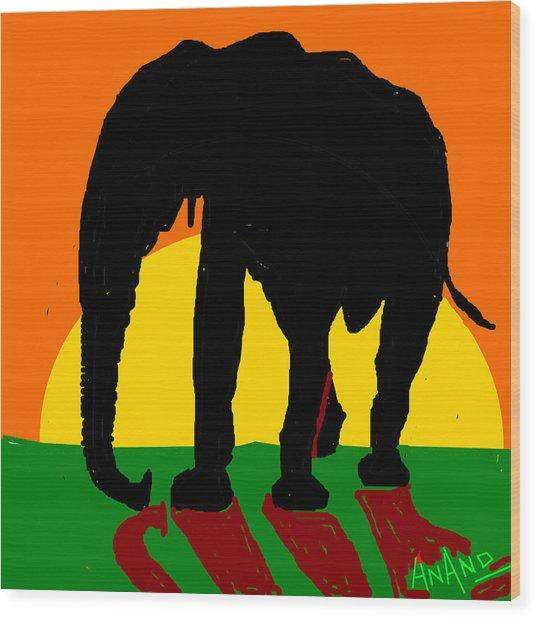 An Elephant And Sun Wood Print by Anand Swaroop Manchiraju