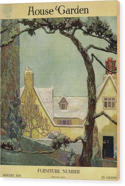 An English Country House Wood Print