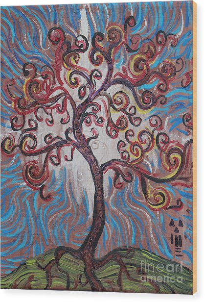 An Enlightened Tree Wood Print