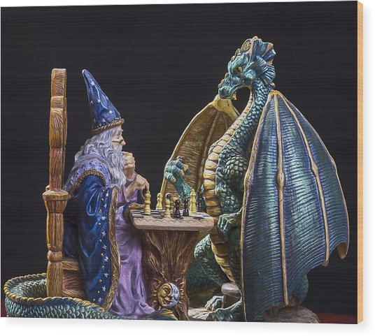 An Epic Chess Match Wood Print