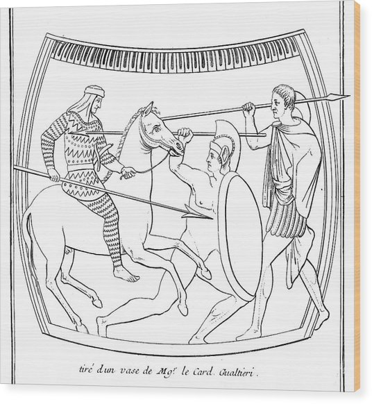An Etruscan Cavalryman  Armed Wood Print by Mary Evans Picture Library