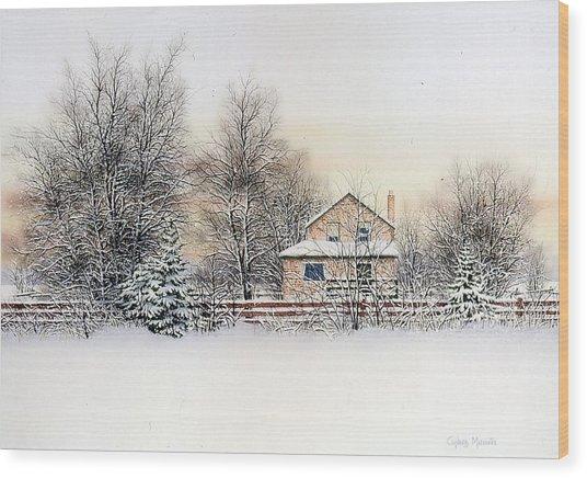 An Evening Silent And Still Wood Print by Conrad Mieschke