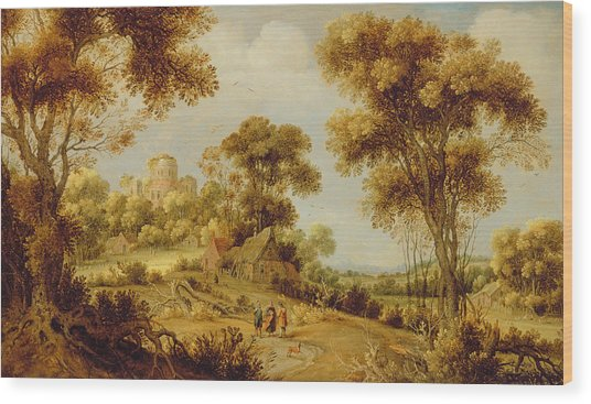An Extensive Wooded Landscape Wood Print
