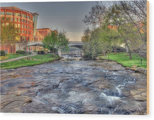 An Hdr Image Of The Reedy River In Downtown Greenville Sc  Wood Print