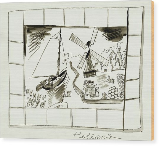 An Illustrated Depiction Of Holland Wood Print by Ludwig Bemelmans