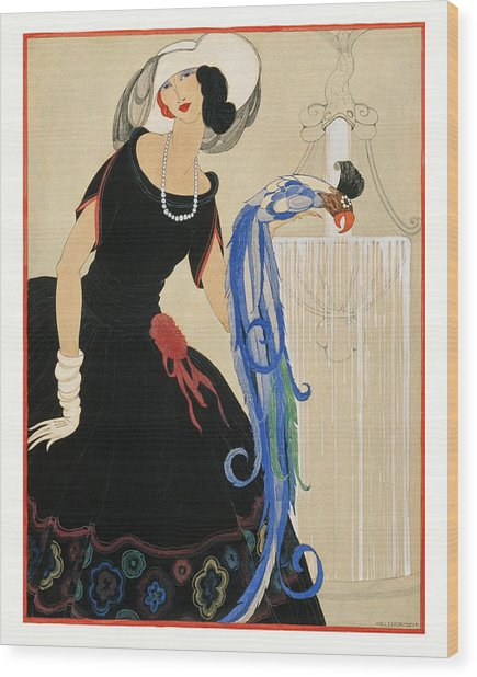 An Illustration Of A Young Woman For Vogue Wood Print by Helen Dryden